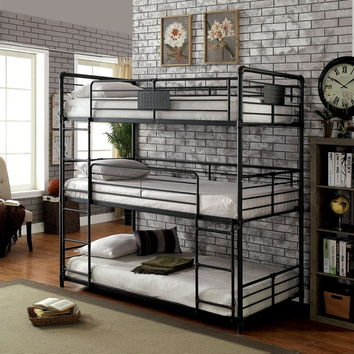 Olga I collection triple twin bed twin over twin over twin antique black metal frame industrial bunk bed