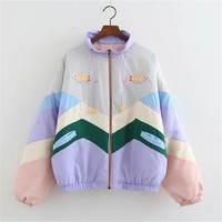 Japanese Style Color Embroidery Cartoon Villain Collar Loose Baseball Clothing Jacket Coat Autumn And Winter Women Winter Coats