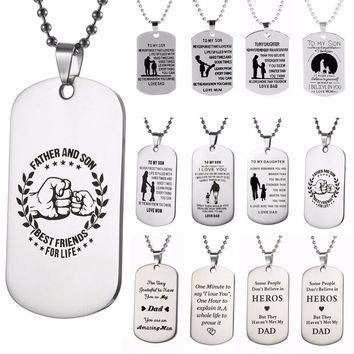 2018 New Fashion 1Pc Dog Tag Mother Father Daughter Son Necklace Stainless Steel Pendant Chain Jewelry Love Family Gift #263930