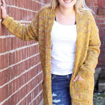 {Mustard} Confetti Pop Knit Cardigan