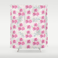 watercolor peonies Shower Curtain by sylviacookphotography