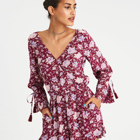AE PRINTED WRAP FRONT DOUBLE BELL ROMPER, Burgundy