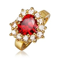18K Yellow Gold Plated Big Heart Red Swarovski Elements Crystal Ring, Size 8