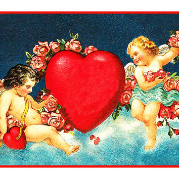 Victorian 2 Cupids with Heart and Roses from Antique Card Counted Cross Stitch or Counted Needlepoint Pattern