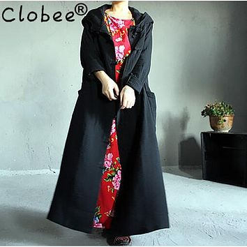 Trench coat for women cotton-padded Spring Summer Maxi Long cotton plus size Clothing female ladies stand outwear Formal WJ512
