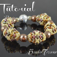 "Beaded bead tutorial ""Precious Beads"" superduo bead pattern, beaded bead pattern, seed beads pattern TUTORIAL ONLY"