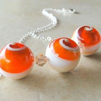 Conch Shell And Resin Bead Necklace On Sterling Silver by BeadsMe