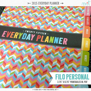 "2015 FP Everyday Planner Printables PDF - 3.75"" x 6.75"" Filo Personal Size - instant download"