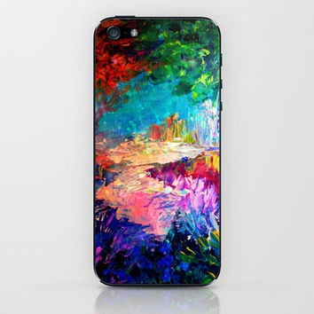 WELCOME TO UTOPIA Bold Rainbow Multicolor Abstract Painting Forest Nature Whimsical Fantasy Fine Art iPhone & iPod Skin by EbiEmporium