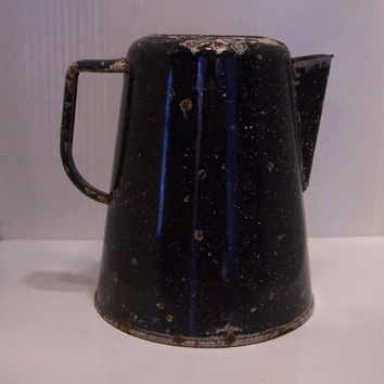 Vintage, Home Decor, Coffee Pot, Cowboy, Enamelware, Camping, Rustic, Graniteware, Spatterware,  Tea, Table Center Piece, Wedding, Black