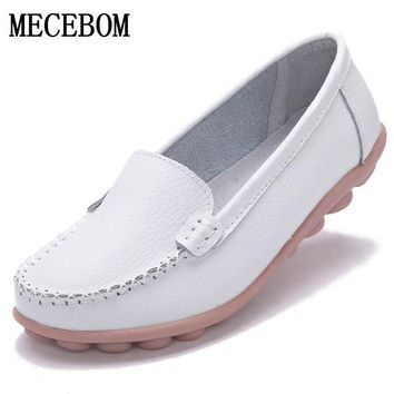 2017 Shoes Woman Leather Women Shoes Flats Colors footwear Loafers Slip On Women's Fla