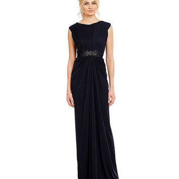 Adrianna Papell Cap-Sleeve Tulle Gown | Dillards