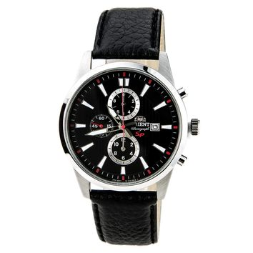 Orient TT12005B Men's SP Black Dial Leather Strap Steel Chronograph Watch