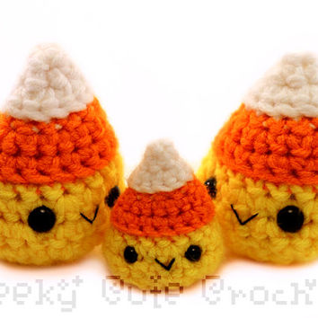 Candy Corn Amigurumi Crocheted Candy Toy Plush Fall Halloween