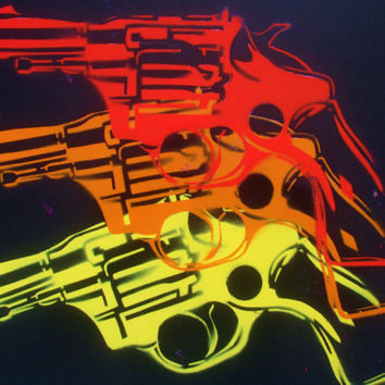 warhol pop guns custom painting,stencils & spray paints,pop art,colourful,triple,design,hand cut, hand made,home, living,canvas,american