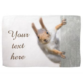 Curious squirrel kitchen towel