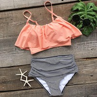 Waisted Bikini Ruffle Junior Swimwear Modest Swims