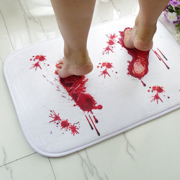 New Novelty Door Blood Carpet mat bathroom water absorption non-slip rug Horror Terror Carpet Doormat Door Mats