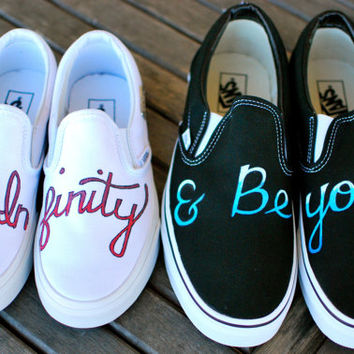 To Infinity & Beyond - Custom Hand Painted Couples Vans Shoes