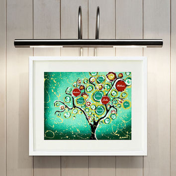 Personalized custom family names Tree of Life print wall decor, Giclee art print, Turquoise wall art, 11x14 Signed
