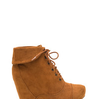 True Collars Lace-Up Wedge Booties