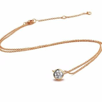Simple Style Crystal Rose Gold Color Necklace