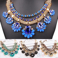 Fashion Women's Crystal Choker Statement Collar Chain Necklace Party Jewelry = 1946025924