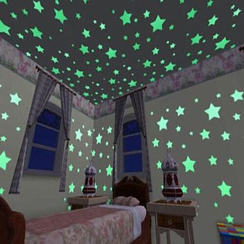 3D Glow in the Dark Luminous Stars (100 Pieces) - Wall Stickers