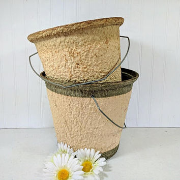 Two Old Pails with Loads of Character Vintage Atco Old Pal Set of 2 Paper Pulp Aged Buckets & Handles Primitive Rustic for Decor or Chores