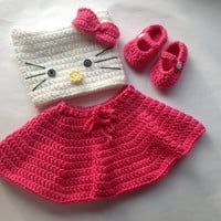 Handmade Crochet Hello Kitty outfit set (hat, skirt and booties) in any size you like, hello kitty hat
