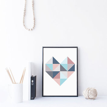 Heart Print, Geometric Art Printable, Triangle art, nursery printable wall art printable download kids wall art modern nursery art