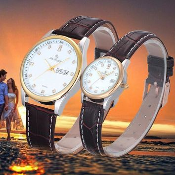 1Pair Luxury Couples Rhinestore Watch Leather Band Quartz Wrist Watch