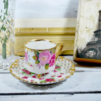 Lusterware Footed Tea Cup and Saucer Set in Porcelain  , Mismatch Tea Set