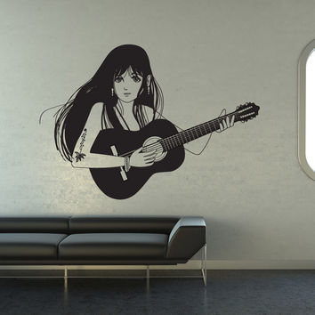 Vinyl Wall Decal Sticker Girl Guitarist #OS_DC791