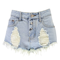 Lolah Fray Edged Pocket Denim Hotpants
