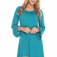 TEAL KNIT RUFFLE LONG BELL SLEEVES TUNIC DRESS