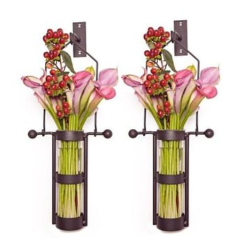 (Set of Two) Wall Mount Glass Vases with Metal Cradle and Hanging Hook