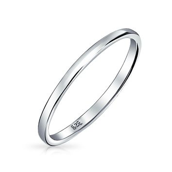 Thin Stackable 925 Sterling Silver Couples Wedding Band Rings 2MM
