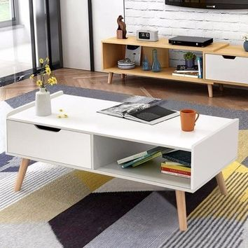Modern Coffee Table Side End Table w/ Drawers Solid Wood Legs
