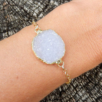White Druzy Bracelet 14K Gold Snow Oval Drusy Crystal Quartz Light Purple Lavender - Free Shipping OOAK Jewelry
