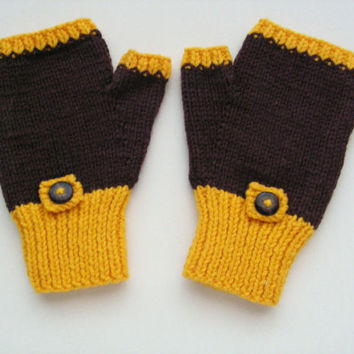 Brown and Yellow Wool Mitts Small Adult Size Fingerless Gloves Texting Mitts Winter Fashion Accessories Ready to Ship