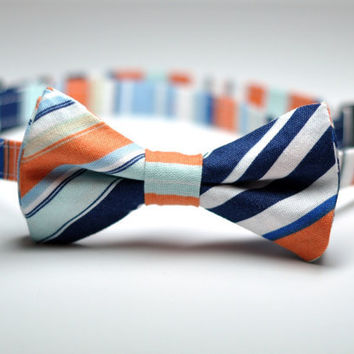 Boys Bow Tie Orange and Blue Nautical Stripe Childrens Bowtie