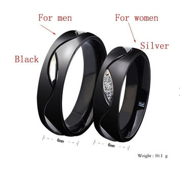 New fashion 6mm The Lord Of The Rings Black crystal couples rings Tungsten Steel Ring Band womenn size5-13 forwomen = 1930148676