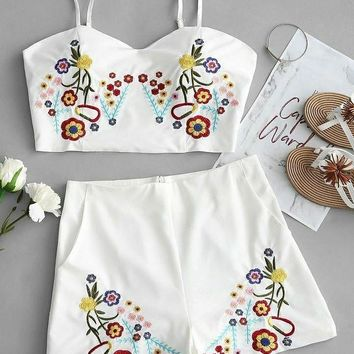 Embroidered Two Pieces Romper