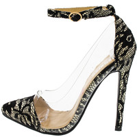 Lace Lovers Pointed Toe Clear Heels -  Black