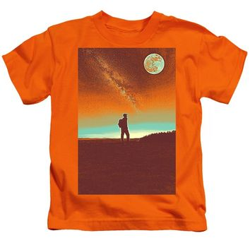 The Milky Way, The Blood Moon And The Explorer Poster By Adam Asar 4 - Kids T-Shirt