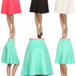 Career Women Solid Plain A-Line Flare Pleated Midi Knee Length Office Skirt