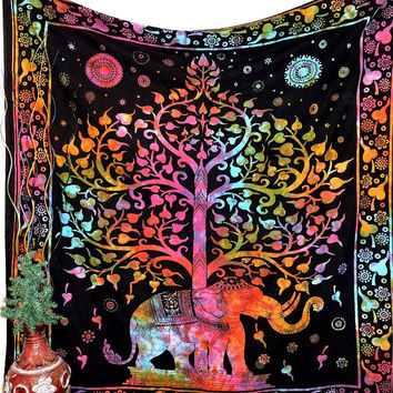 Dorm Tree Elephant Tapestry Tapestries, Hippie Tapestry Wall Hanging, Elephant Wall Tapestries, Indian Tapestry, Bohemian Dorm Tapestries