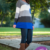 Color Block Pocket Sweater, Royal