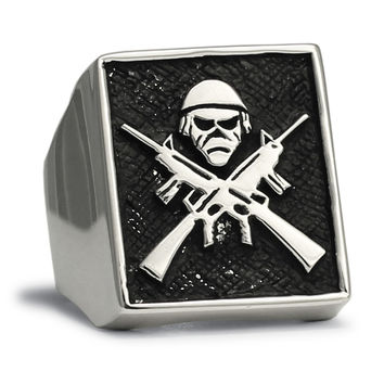 Sterling Silver m16 Fighter Ring Army Rebel AK47 Iron Maiden Mascot